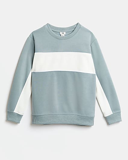 Boys blue colour block sweatshirt