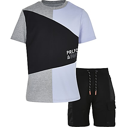 Boys blue colour block t-shirt and shorts set