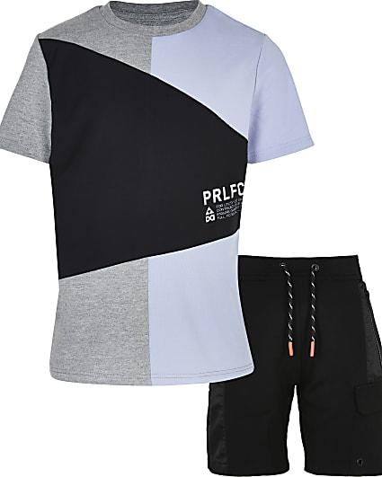 Boys blue colour block t-shirt and shorts set