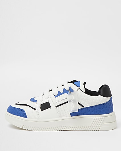 Boys blue colour block trainers