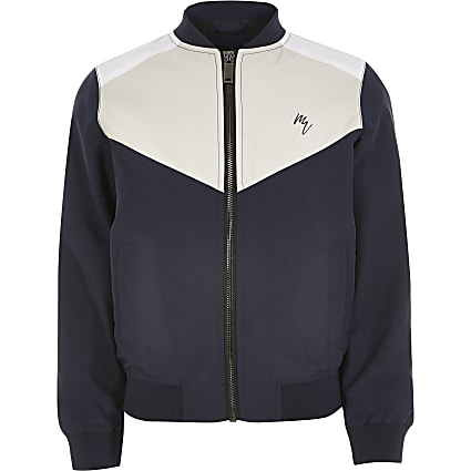 Boys blue colour blocked bomber jacket