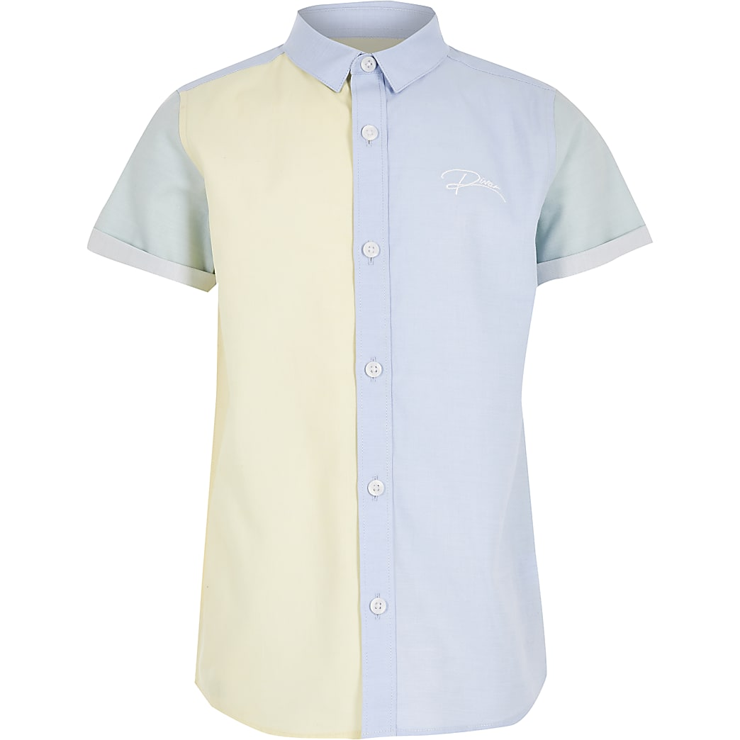 Boys blue colour blocked 'River' shirt