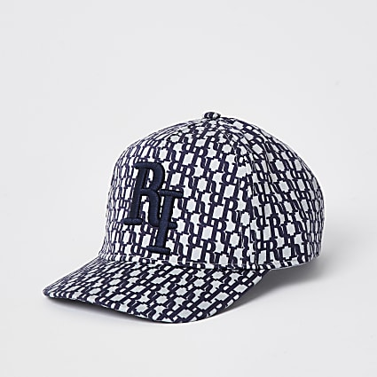 Boys blue denim monogram print cap
