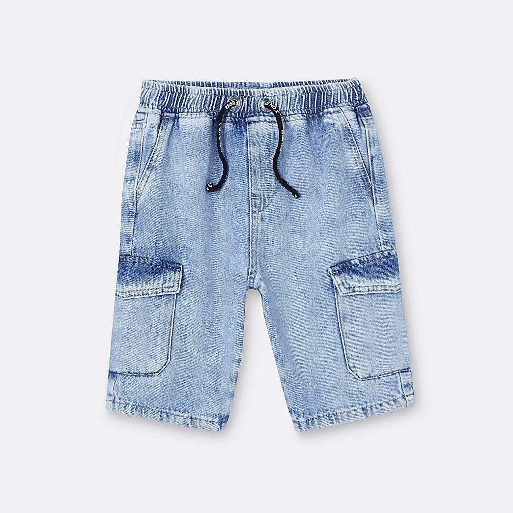 Boys blue denim pull on shorts