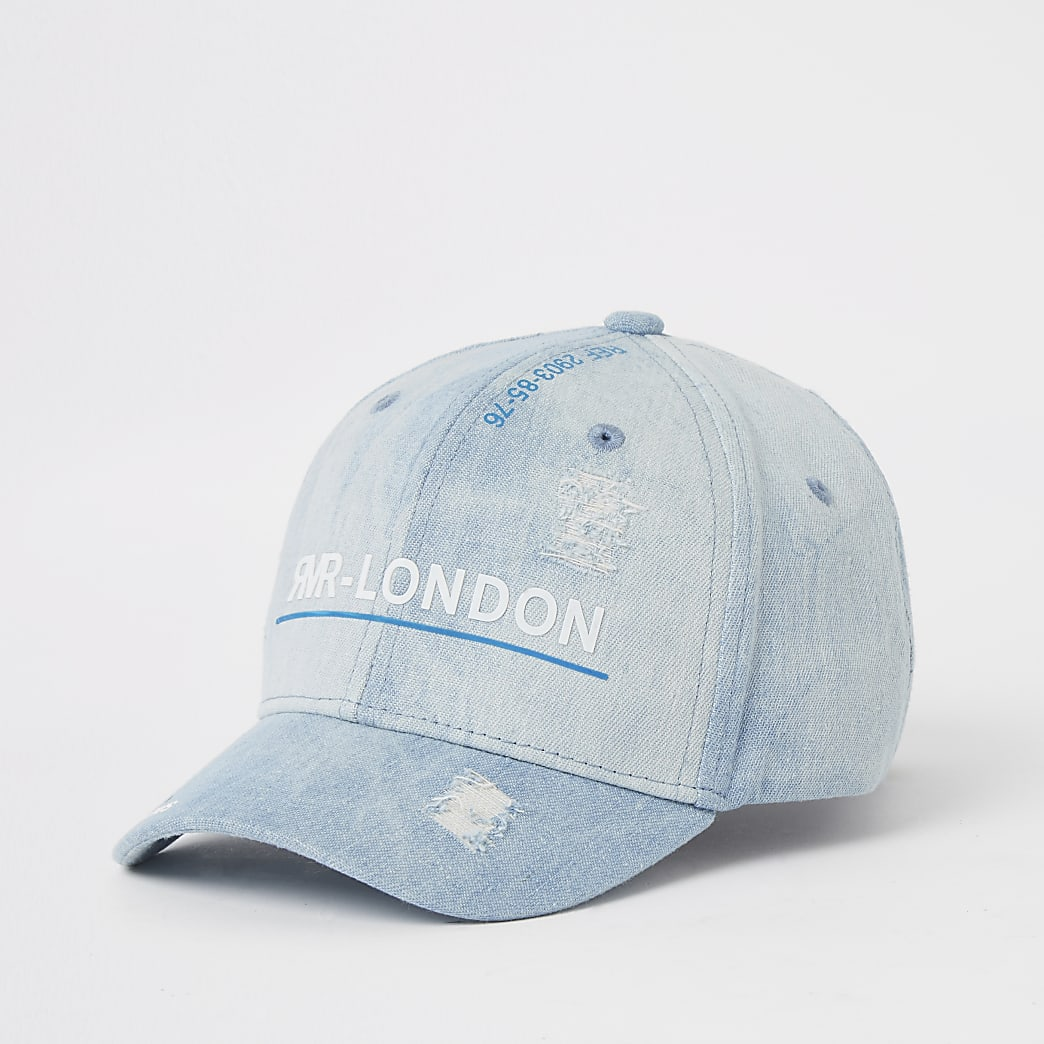 Boys blue denim RVR ripped cap