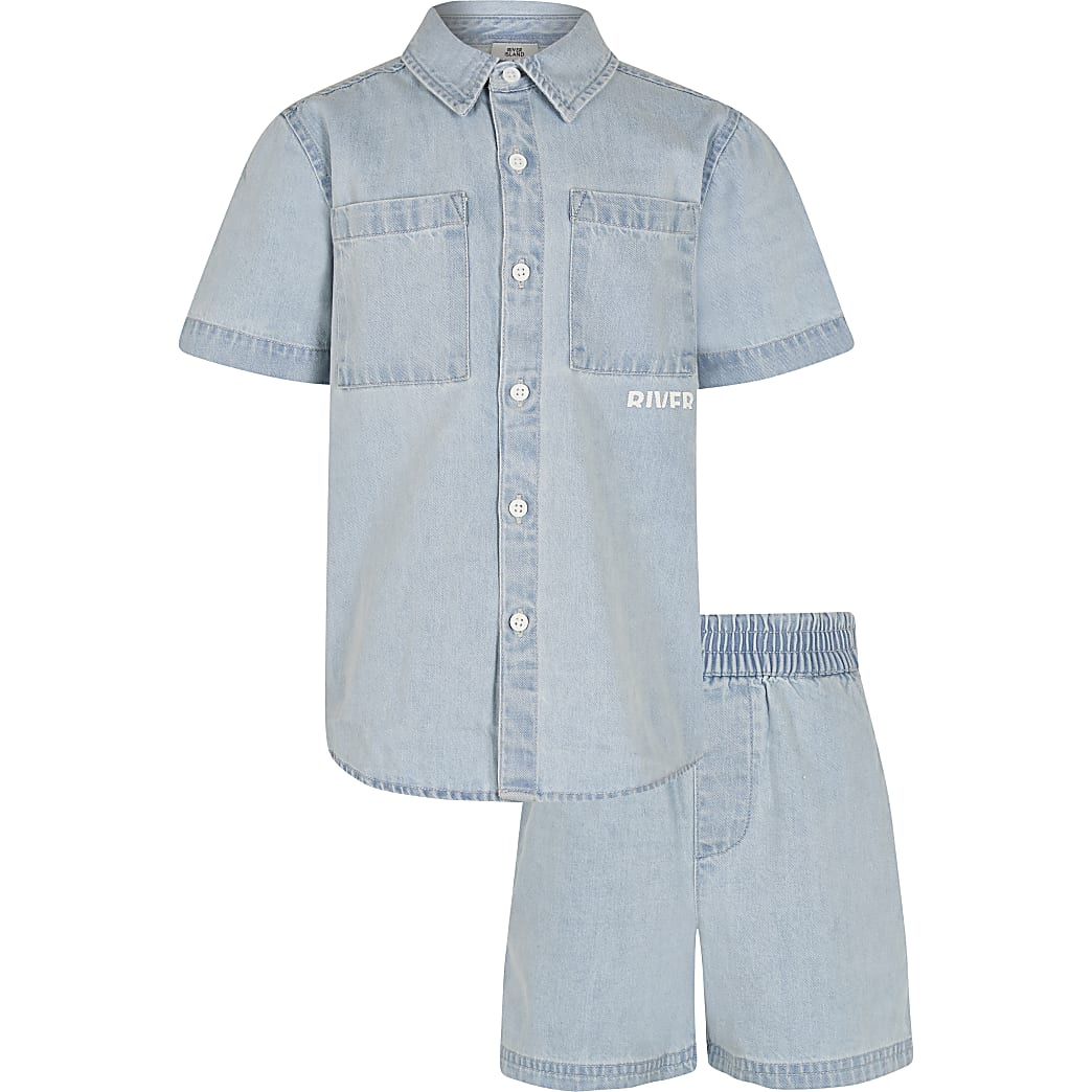 Boys blue denim shacket and shorts outfit
