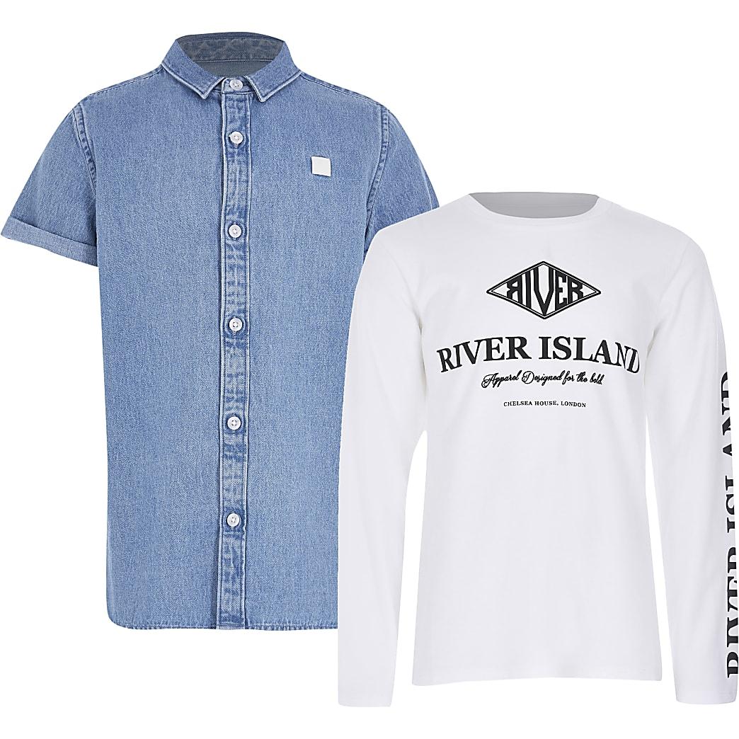Boys blue denim shirt outfit