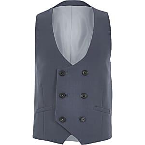 Boys blue double breasted waistcoat