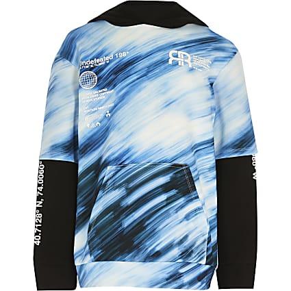 Boys blue double sleeve hoodie