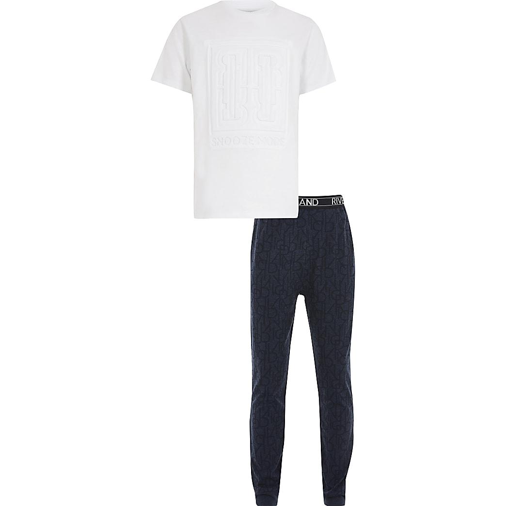Boys blue embossed pyjama set