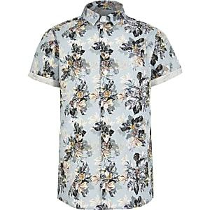 Blaues, kurzärmeliges Hemd mit Blumenmuster für Jungen