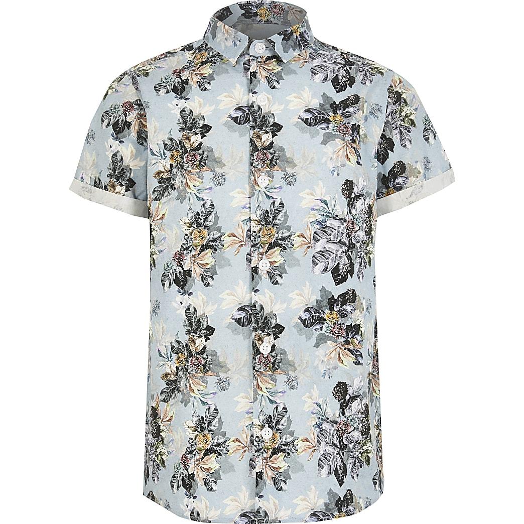 Blauw overhemd met korte mouwen en bloemenprint voor jongens