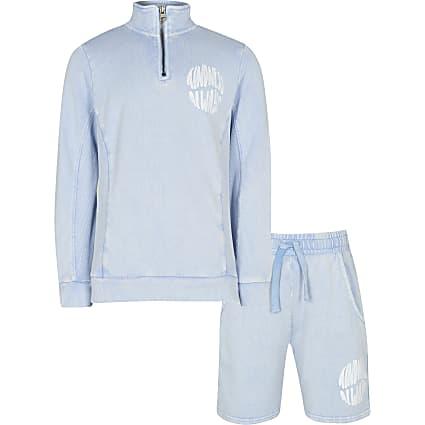 Boys blue funnel neck sweatshirt and shorts