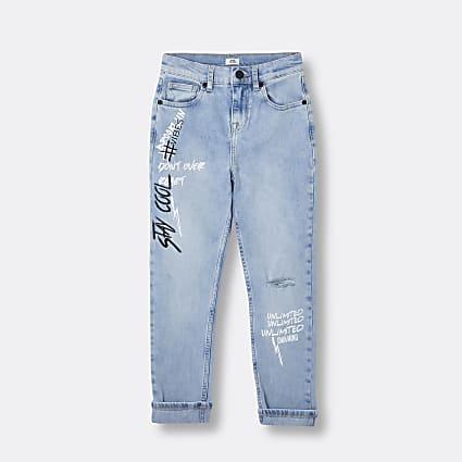 Boys blue graffiti detail ripped jeans