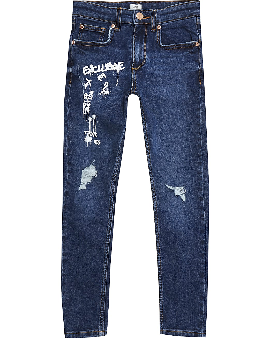 Boys blue graffiti print skinny jeans