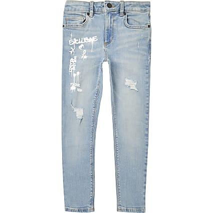 Boys blue graffiti super skinny jeans