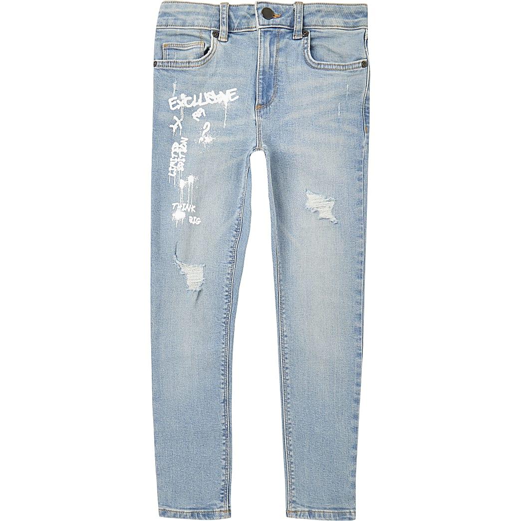 Boys blue graffiti super skinny jeans