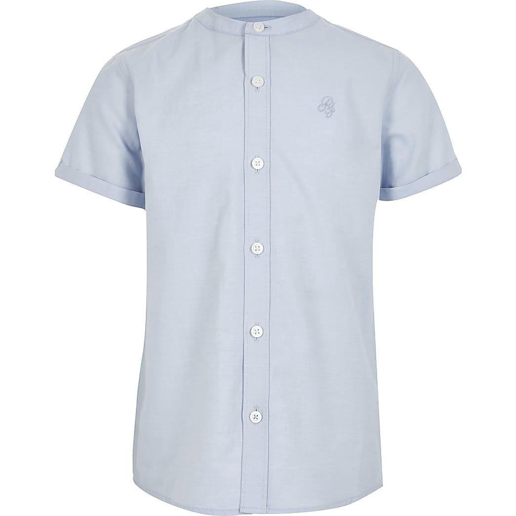 Blauw overhemd zonder kraag van keperstof voor jongens