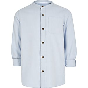Boys blue herringbone grandad shirt
