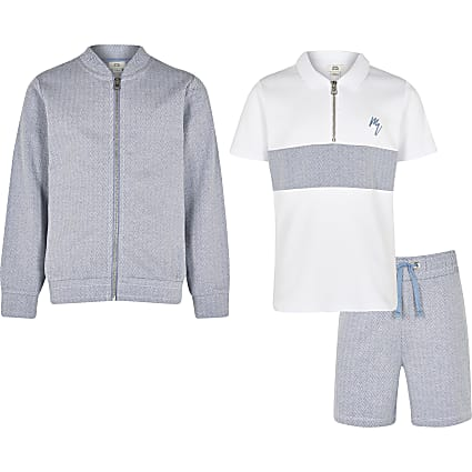 Boys blue herringbone polo 3 piece outfit