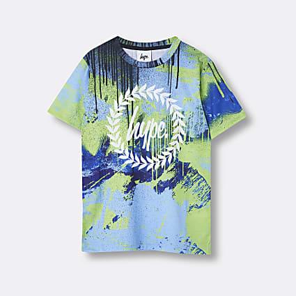 Boys blue Hype drip print t-shirt