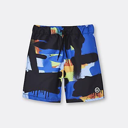Boys blue Hype paint print shorts