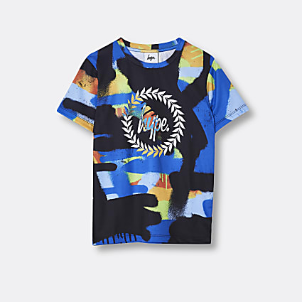 Boys blue Hype paint print t-shirt