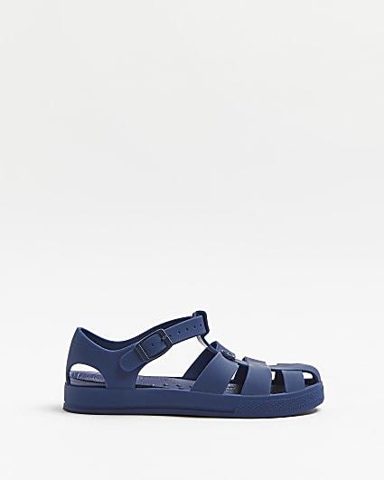 Boys blue jellie caged sandals