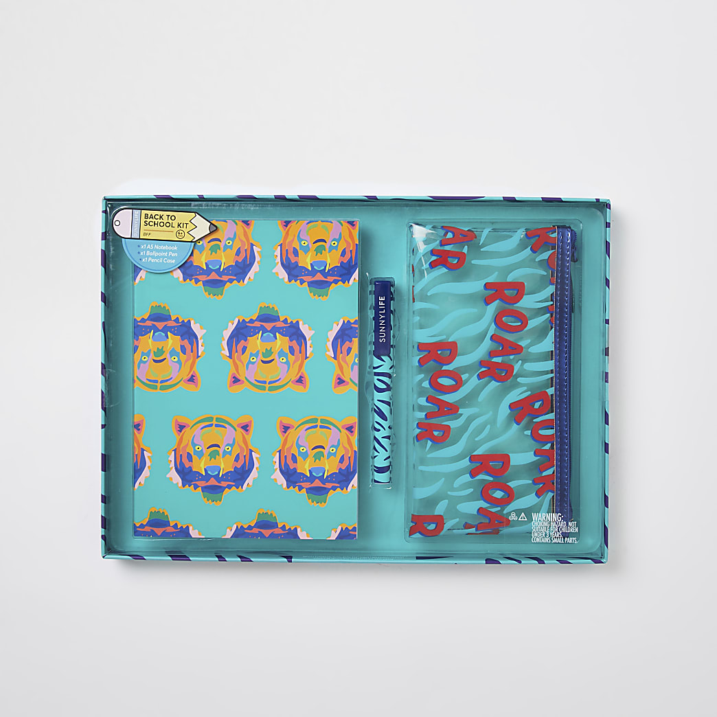 Boys blue jungle notepad set