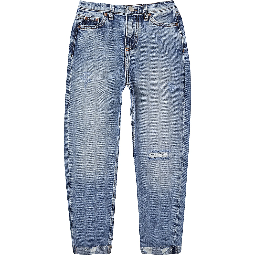 Boys blue knee ripped straight jeans