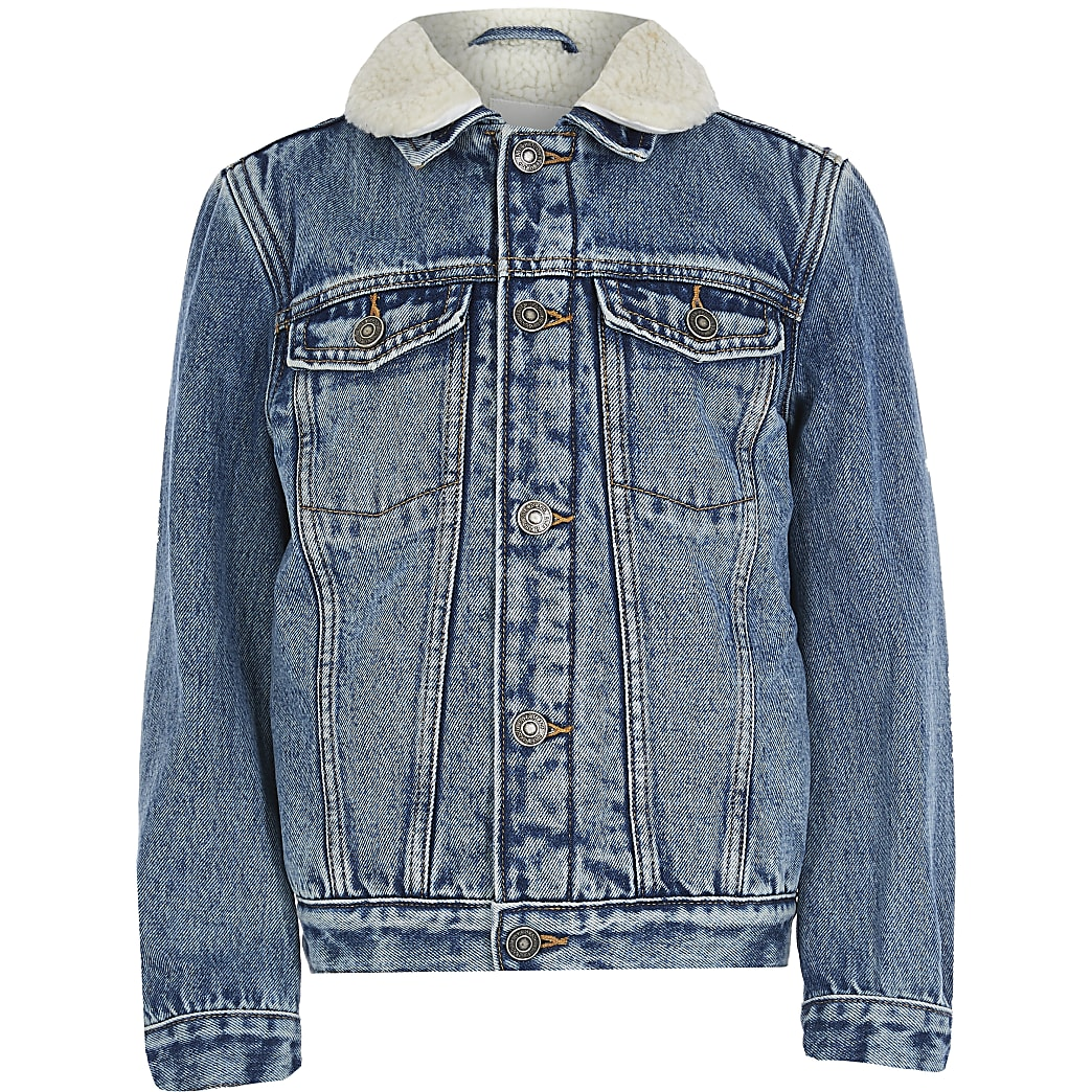 Boys blue lined denim jacket