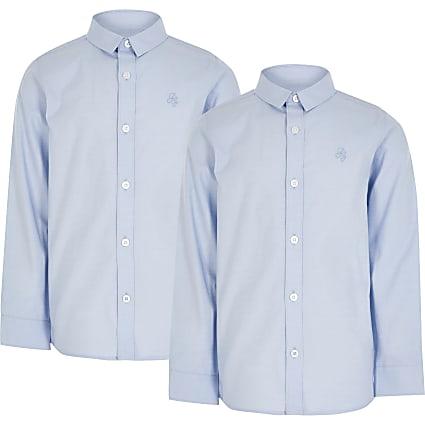 Boys blue long sleeve shirt 2 pack