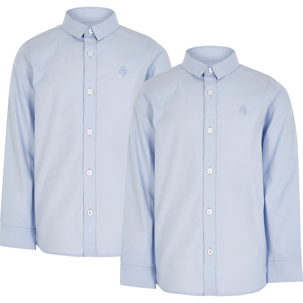 Boys blue long sleeve shirt 2 pack