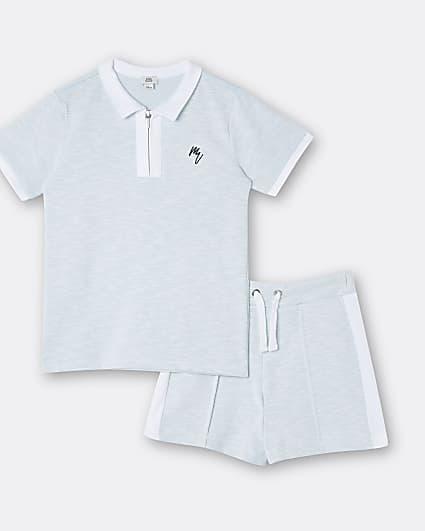 Boys blue Maison Riviera polo shirt outfit