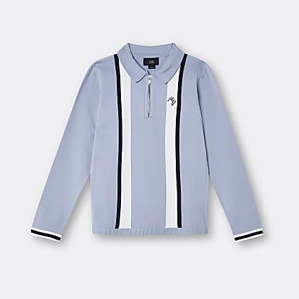 Boys blue Maison Riviera stripe polo top