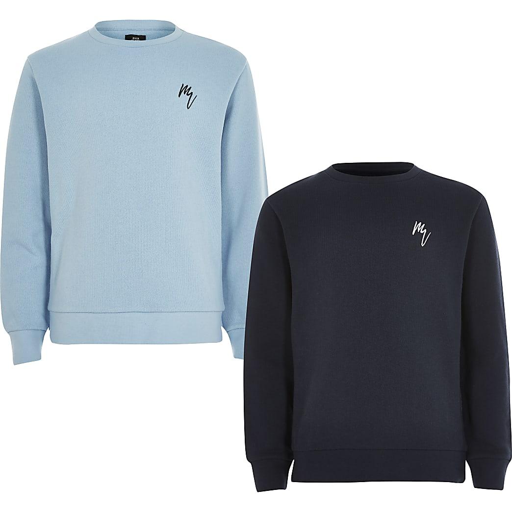 Boys blue Maison Riviera sweatshirt 2 pack