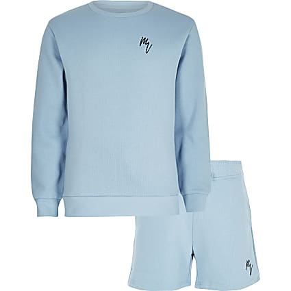 Boys blue Maison Riviera sweatshirt outfit