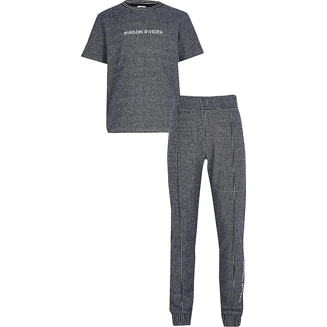 Boys blue 'Maison Riviera' t-shirt outfit