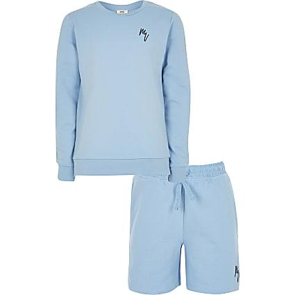 Boys blue Maison Rivieria sweat and short set
