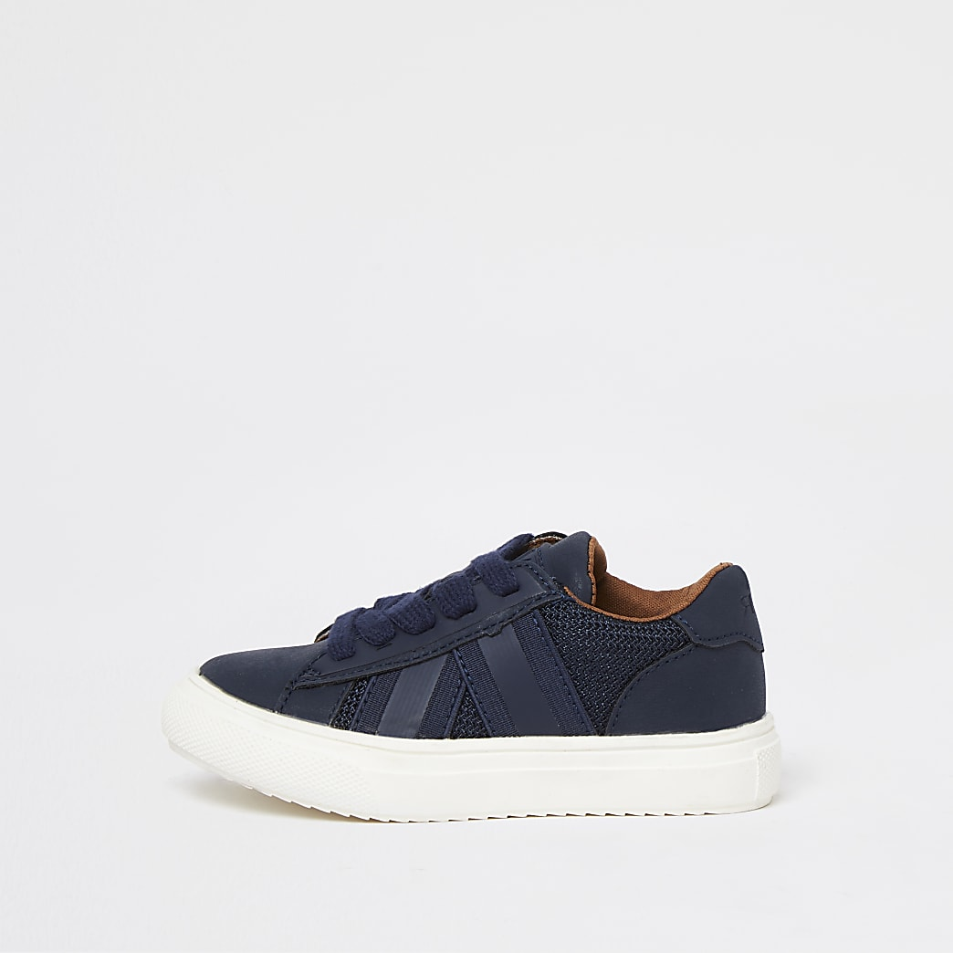 Boys blue mesh taping lace up trainers