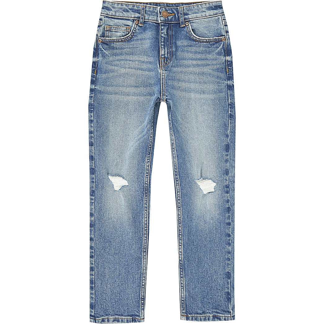 Boys blue mid wash rip jeans