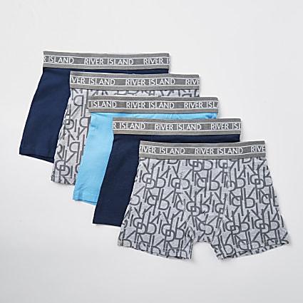 Boys blue monogram boxers 5 pack