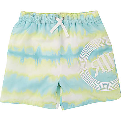 Boys blue neon tie dye swim shorts