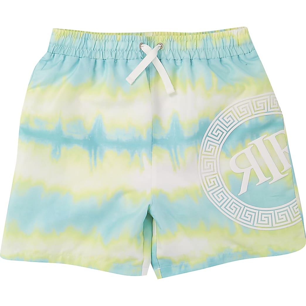 Boys blue neon tie dye swim shorts