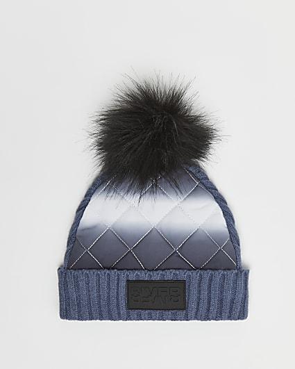 Boys blue nylon padded beanie hat