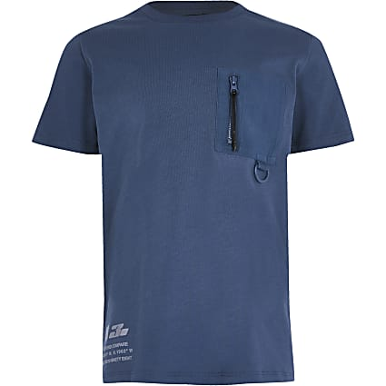 Boys blue nylon pocket t-shirt