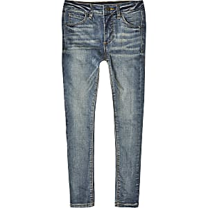 Ollie - Blauwe spray-on skinny jeans voor jongens