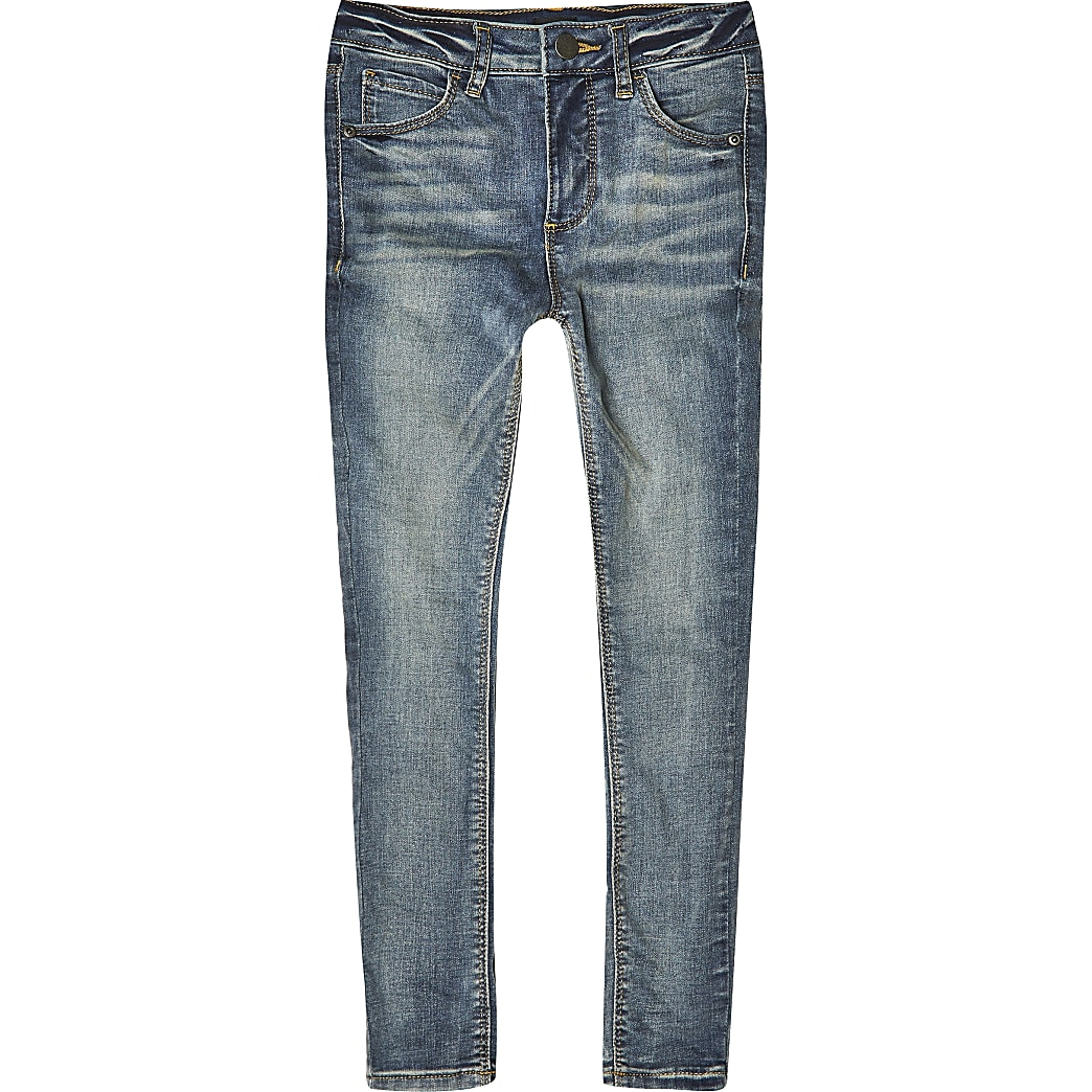 Ollie - Blauwe spray-on skinny jeans voor jongens