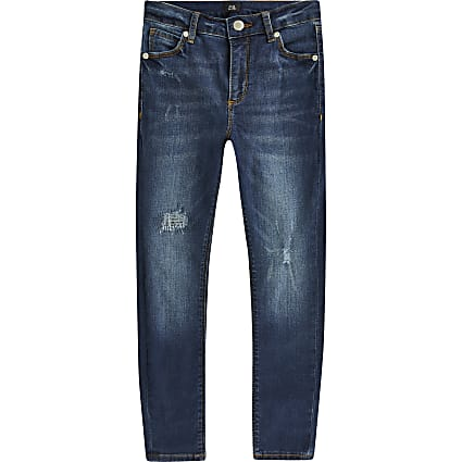 Boys blue Ollie spray on skinny ripped jeans