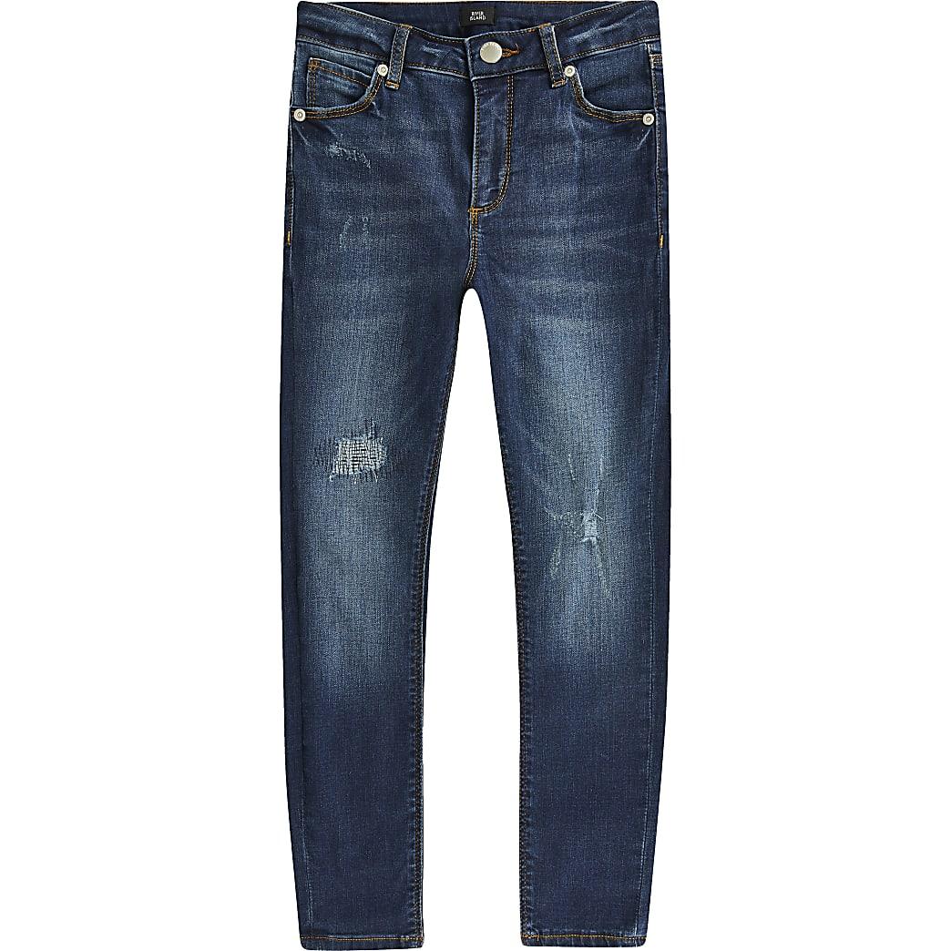 Ollie – Blaue Skinny Fit Spray-on-Jeans im Used-Look